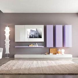 cuisine intérieur design toulouse living salon rangement blanc et violet épuré moderne tendance