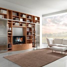 cuisine intérieur design toulouse living salon rangement bois épuré moderne tendance office de bibliothèque