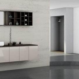 cuisine intérieur design, salle de bain blanc blanche miroir  double vasque plan de travail noir anthracite étagère et niche de décoration