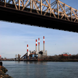 Queensboro Bridge and power plant on the East River near Roosevelt Island