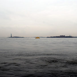 Statue of Liberty, Ferry and Ellis Island from Battery Park
