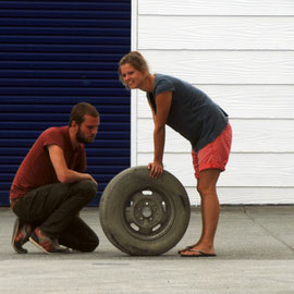 Tyre trouble, Fox Glacier Village