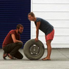Tyre trouble, Fox Glacier Village