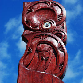 Maori carving, Pupu Springs, Golden Bay