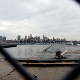 Piers near South Street Seaport and Brooklyn skyline