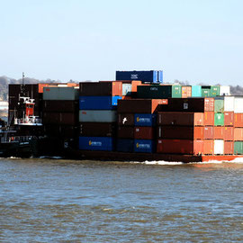 Joan Moran and container barge
