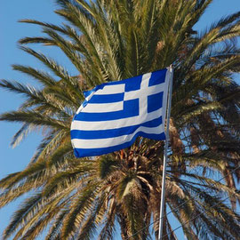 Greek flag, Skala, Larnaka