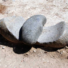 Worn grinding stones for milling early grains, Khirokitia