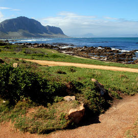 Looking south east from Stony Point at Betty's Bay towards the shore at Hermanus and Gaansbaai