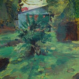 Arbre 14. By Nicolas Borderies, oil on canvas, 160 x 120 cm, 2019.