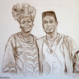 Couple de Congolais. By Nicolas Borderies, pastel pitt on paper, 50 x 65 cm, 2013.
