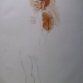 Académie. By Nicolas Borderies, Graphite and sanguine on paper, 65 x 50 cm, 2001-2005.