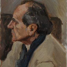 Portrait de Monsieur C, By Nicolas Borderies, oil on board, 35 x 27 cm, 2014. 3H Allaprima from life.