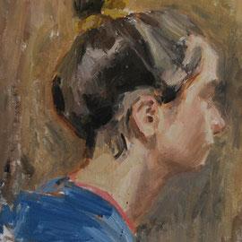 Portrait de Mademoiselle A étude, By Nicolas Borderies, oil on board, 35 x 24 cm, 2014. 3H Allaprima from life.