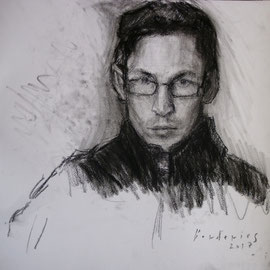 Autoportrait. By Nicolas Borderies, charcoal on paper, 32 x 30 cm, 2017.