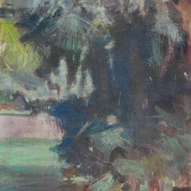 Arbre 18. By Nicolas Borderies, oil on canvas, 160 x 120 cm, 2019.