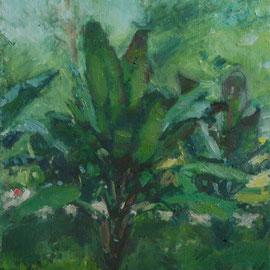 Arbre 8. By Nicolas Borderies, oil on canvas, 80 x 40 cm, 2018.