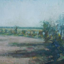 Paysage 3. By Nicolas Borderies, oil on canvas, 30 x 40 cm, 2019.