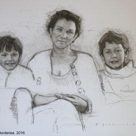 Maternité. By Nicolas Borderies, Pitt charcoal on paper, 50 x 65 cm, 2016.