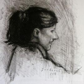 Portrait de Madame H. By Nicolas Borderies, charcoal on paper, 32 x 30 cm, 2017.