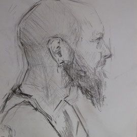 Portrait de Monsieur D. By Nicolas Borderies, graphite on paper, 29,7x 21 cm, 2016.