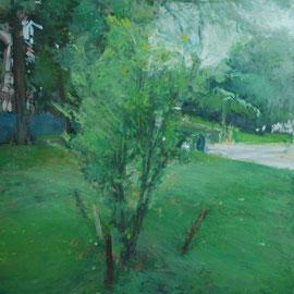 Arbre 4. By Nicolas Borderies, oil on canvas, 92 x 73 cm, 2018.