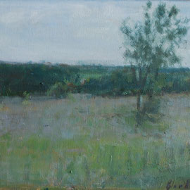 Paysage 2. By Nicolas Borderies, oil on canvas, 27 x 41 cm, 2019.