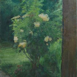 Rosier jaune ou Arbre 13, By Nicolas Borderies, oil on canvas, 54 x 46 cm, 2019.