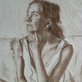 Etude 2 du portrait de Mademoiselle F. By Nicolas Borderies, pastel pitt on paper, 65 x 50 cm, 2016. (detail)