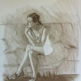 Etude du portrait de Mademoiselle F. By Nicolas Borderies, pierre noire on paper, 65 x 50 cm, 2013.