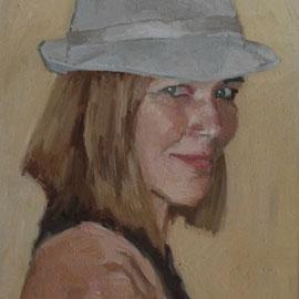Portrait de Mademoiselle S, By Nicolas Borderies, oil on board, 30 x 22,5 cm, 2012.