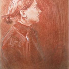 Mademoiselle F de profil. By Nicolas Borderies, sanguine, pierre noire and white art chalk, 65 x 50 cm, 2015.