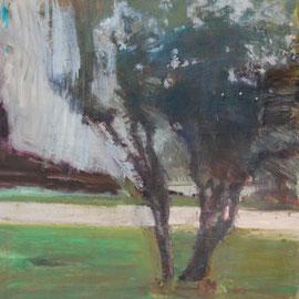 Arbre 19. By Nicolas Borderies, oil on canvas, 160 x 120 cm, 2019.
