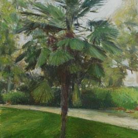 Arbre 10. By Nicolas Borderies, oil on canvas, 80 x 55 cm, 2018.