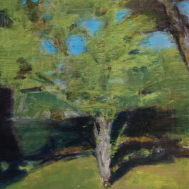 Arbre 20. By Nicolas Borderies, oil on canvas, 160 x 120 cm, 2019.