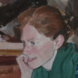 Portrait de Mademoiselle V, By Nicolas Borderies, oil on canvas, 41 x 27 cm, 2012.