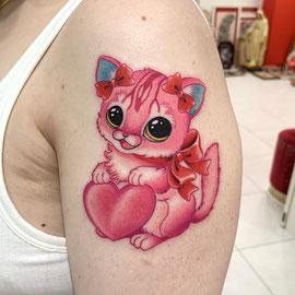 可愛い猫タトゥー