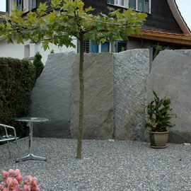 Sichtschutz mit Naturstein Krustenplatten