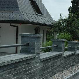 Schichtenmauerwerk Granit Eberhard Gartenbau AG
