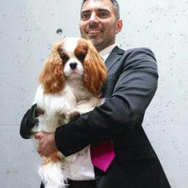 Claudio Baglioni dei Piccoli Demoni (proprietaria Teresa Saporito)col suo handler Andrea Mapelli