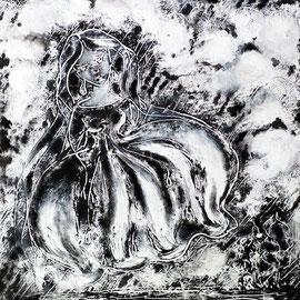 Madame la Pluie (monotype - illustration  pour le conte de Paul de Musset)