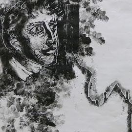 Le regard du poète (F.R. de Chateaubriand) (collagraphe - Combourg 2013)