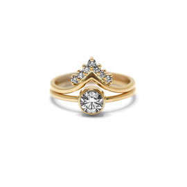 Duo or jaune 14k | Solitaire + bague pointue