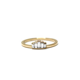 Bague or jaune 14k + diamants baguettes