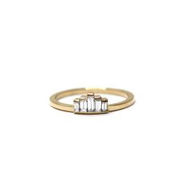 Bague or jaune 14k + diamants baguettes