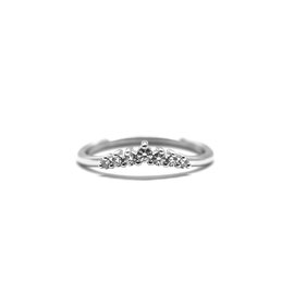 Bague pointue or blanc + diamants