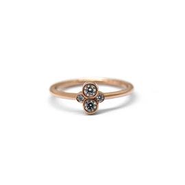 Bague or rose 14k + 4 diamants