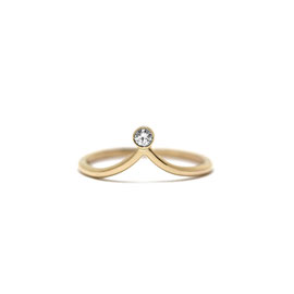 Bague pointue or jaune 14K + diamant