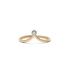 Bague pointue or jaune 14K + diamant