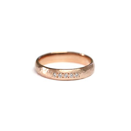 Jonc or rose 14k + diamants | Martelé + brossé